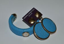 ADAMI AND MARTUCCI STERLING SILVER AND BLUE LEATHER BRACELET AND EARRINGS SET
