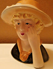 Vintage Figure Head Ceramic Lady Kitch Retro Gypsy Gothic Queen Bust Figurine