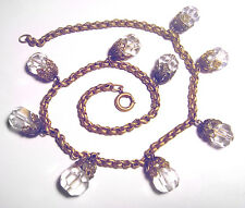 LOVELY Antique ART DECO Brass CUT CRYSTAL & Faux PEARL Bead DANGLE NECKLACE