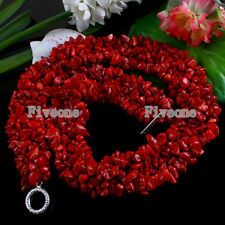 """18""""L Natural Red Coral Freeform Chip Gems Beads Chain Necklace Women Jewelry"""