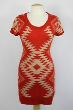 NWT Womens Liv Orange Beige Tribal Aztec Knit Straight Fit Mini Sweater Dress M