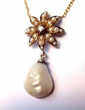 Antique Victorian 14K Yellow Gold Seed Pearl and Diamond Drop Necklace