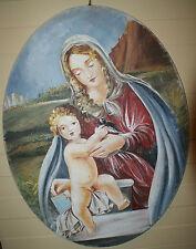 Affresco autentico strappati da muro 80x60 Cm. Ovale Madonna Con Bimbo Su Tela