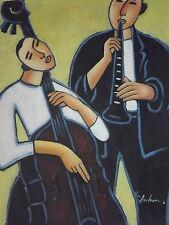 Musiciens de jazz chello double bass grande peinture à l'huile sur toile musique originale art
