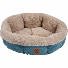 Pet Bed for dogs and cats - Ultra Soft Shearling Cup Round Bed Teal 21""