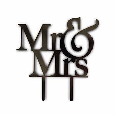 MR and MRS Black Acrylic Cake Topper Laser Cut Bride and Groom Wedding Cake USA