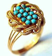 Victorian 18K Solid Gold and Natural Turquoise Ring Size 8 2/3