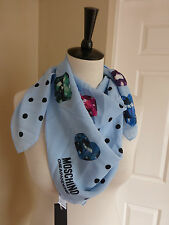 BNWT Moschino Cheap & Chic Blue Polka Dot & Jewel Pattern Silk Scarf