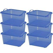 Life Story Blue Stackable Closet & Storage Box 55 Quart Containers, (6 Pack)