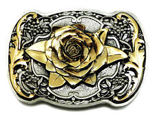 Rose Belt Buckle Womens Floral Western Themed Authentic White Wolf 24ct Gold