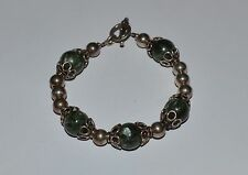 VINTAGE STERLING SILVER AND GREEN MOSS AGATE BEADS BRACELET