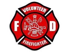 4x4 inch Red VOLUNTEER FIREFIGHTER Maltese Cross Sticker -FD decal fire fireman