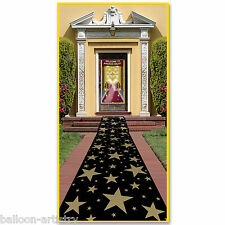 10ft Hollywood Celebration Gold Stars Black Floor Runner Party Decoration