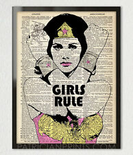 GIRLS RULE WONDER WOMAN Print Poster Dictionary Wall Art Home Decor Teens 5x7