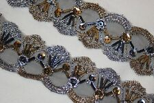 """2 yards Black Gold Pewter embroidered organza Trim sequins beads 1.625"""" wide"""