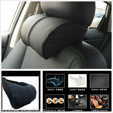 Black Pu Leather Car Headrest Creative Memory cotton Neck Rest Cushion Pillows