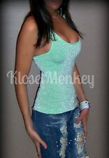 SEXY SPORT GREEN SILVER SPARKLE LUREX MINT LIME STRETCH TANK TOP ONE SIZE