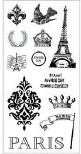 FISKARS Simple Stick PARIS Rubber Cling Stamps EIFEL TOWER FLEUR DE LIS DAMASK