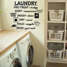 "Laundry Room Wash Dry Fold Iron Vinyl Wall Quote Sticker Decal 43""w x 36""h"