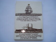 1911 TILE ADV CALENDAR WITH PICS OF U.S.FRIGATE CONSTITUTION&BATTLESHIP FLORIDA