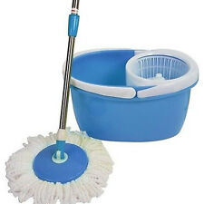 New BLL-22A Easy Clean Magic 360 Rotating Mop for Floor w/Bucket 2 Heads Blue