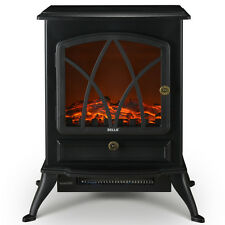 1500W Electric Fireplace Heater Stove Log Wood Glass Flame Freestanding, Black