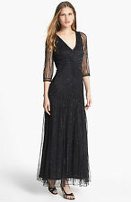 pisarro nights black 20s deco gatsby long evening prom bead sequin dress 10 38
