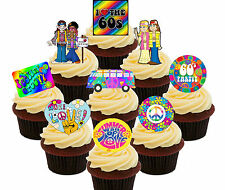 60s party pack 36 comestible cupcake toppers standup gâteau décorations 50th anniversaire