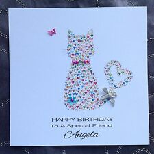 PERSONALISED Handmade Card BIRTHDAY Friend Sister Daughter HEART CAT  *ANY AGE