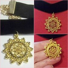 Black Velvet CHOKER Seed of Life,Sacred Geometry,Gold Plated Necklace  A49