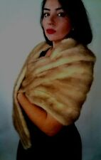 Vintage 50s Mink Fur Stole Pastel Golden Blonde Bridal Wedding Cape Bolero Coat