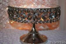 Silver Acrylic Crystal Mirrored Cake Stand Dessert Tray Cupcake Wedding Decor
