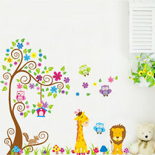 Owl tree tiger jungle Flower Cute Birds kids room decor Wall sticker baby decal