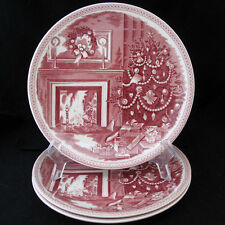 WILLIAMS SONOMA JOSIAH WEDGWOOD CHRISTMAS EVE PLATE RED ON WHITE ENGLAND three