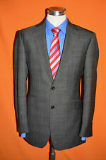 Mens M&S Sartorial Charcoal Grey Prince of Wales Wool Suit 40L W36 L32