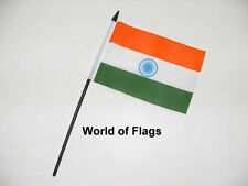 "INDIA SMALL HAND WAVING FLAG 6"" x 4"" Indian Asia Asian Crafts Table Desk Display"