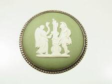 Schöne Wedgwood Porzellan Brosche Silber mit antiker Szene England um 1940