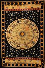 Black Zodiac Sign Celestial Tapestry Wall Decor, Astrological Sun Moon Tapestry