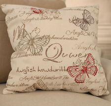 2 x Cream Butterfly Script Cushion Cover Throw Pillow Cover. BRAND NEW