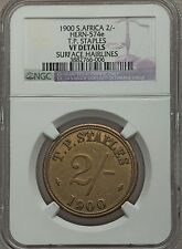 1900 T. P. Staples Railroad South Africa 2 Shillings Token, NGC VF Details Rare