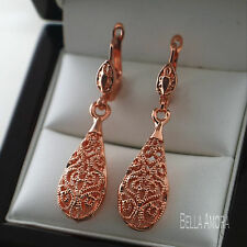 Pretty 18ct 18K Rose Gold Plated Filigree Dangle Water Drop Earrings UK -31