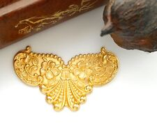 BRASS Floral Shell Cartouche / Plaque Ornament Brass Stamping (C-801)
