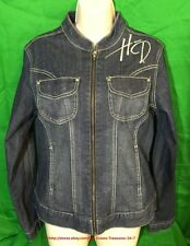 Women's Harley Davidson Genuine Motor Clothes Rhinestone Bling Denim Jacket