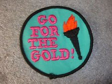 """Go for the Gold  Pink and Teal Olympic 3"""" x 3""""  Sewing Patch"""