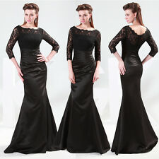 Vintage Appique 3/4 Sleeve Lace Bridesmaid Evening Party Formal Long Gown Dress