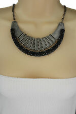 Women Short Fashion Necklace Metal Pendant Black Beads Antique Silver Bib Collar