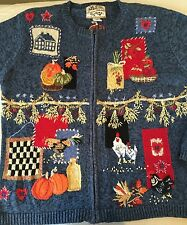 Heirloom Collectibles M Women's Blue Sweater Cardigan Zipper Farm Garden Rooster