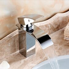 Polished Chrome Brass Bathroom Basin Faucet Vanity Waterfall Sink Mixer Tap NEW