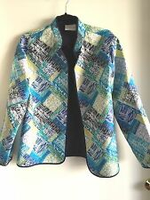 Alfred Dunner Multi-color, Open Front, Flat Quilt Jacket/Top Size 12