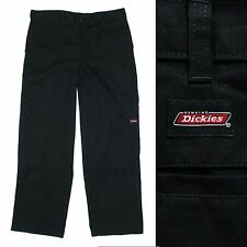 MENS DICKIES PLAIN BLACK CARPENTER STYLE TROUSERS WORKWEAR CASUAL SKATE W36 L32